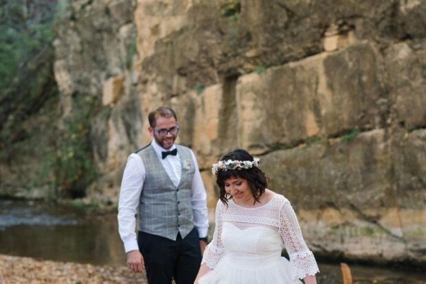 seisón de fotos vestido de novia en otoño